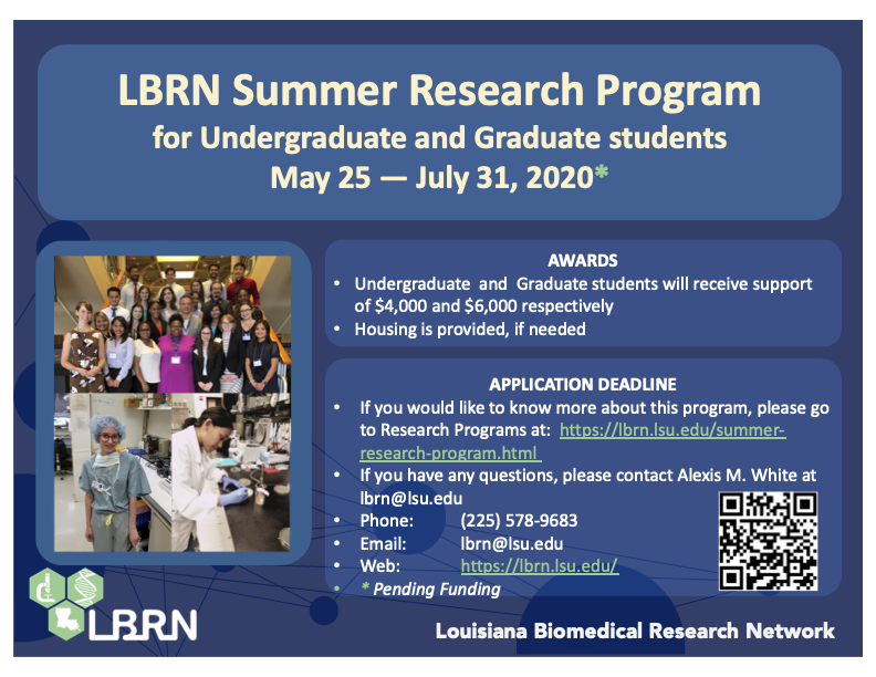 LBRN Summer Research Program Application 2020
